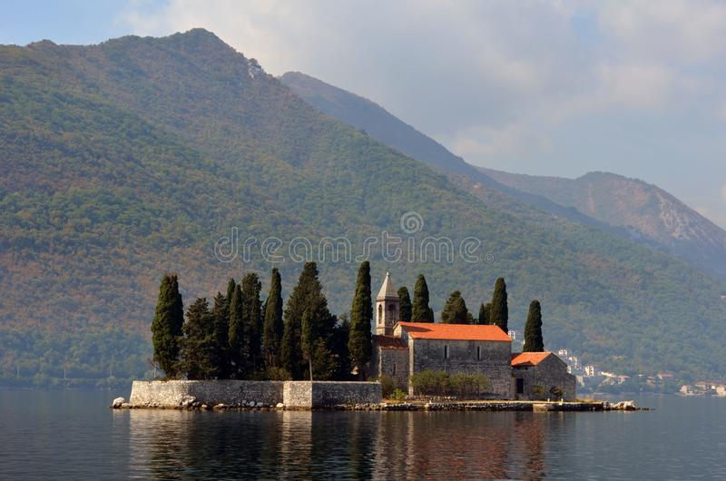 Europe. Mediterranean area. Adriatic sea. Montenegro. Kotor bay. The Monastery on the Sveti Dorde Island. Autumn 2012. stock photos