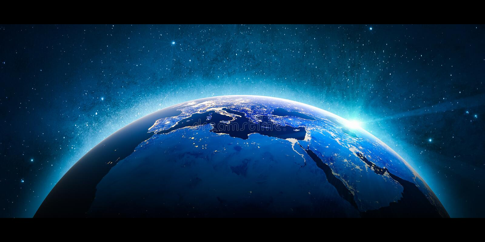 Europe mediterranean. Elements of this image furnished by NASA. Europe mediterranean city lights from space. 3D Rendering. Stars my own photo. Elements of this vector illustration