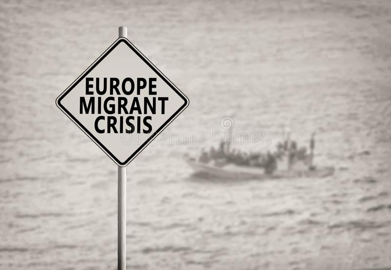 Europe Migrant Crisis Sign. B&w image royalty free stock images