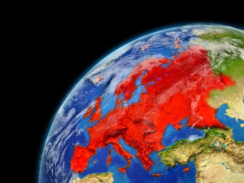 Europe on model of planet Earth with very detailed planet surface and clouds. Continent highlighted in red. 3D illustration. Elements of this image furnished vector illustration