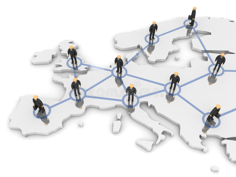 Europe Network. A 3d image of business team connected with network vector illustration