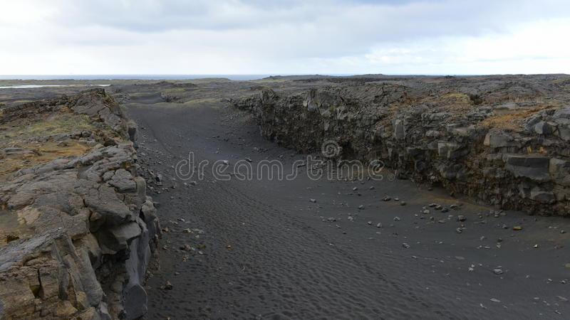 Between Europe and North America continents tectonic plates. Between Europe and North America continents at Reykjanes Peninsula, Iceland stock image