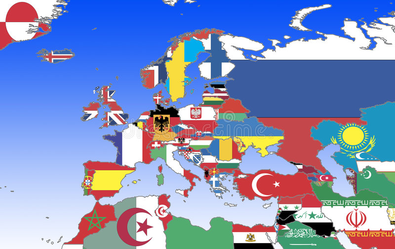 Europe - outline and flags royalty free illustration