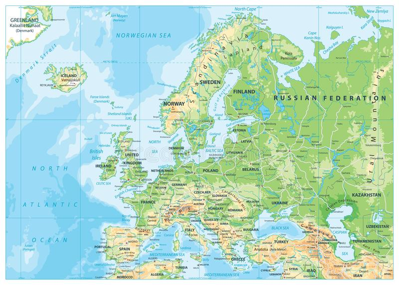 Europe Physical Map. Detailed illustration of