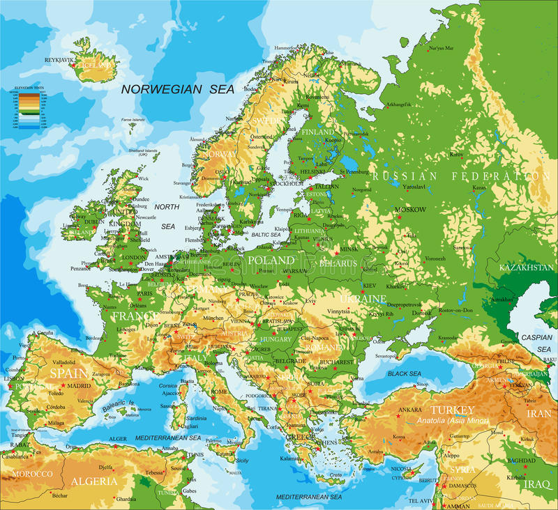 Europe - physical map. Highly detailed physical map of Europe, in vector format, with all the relief forms, countries and big cities