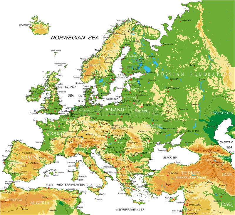 Europe - physical map. Highly detailed physical map of Europe, in vector format, with all the relief forms, countries and big cities royalty free illustration