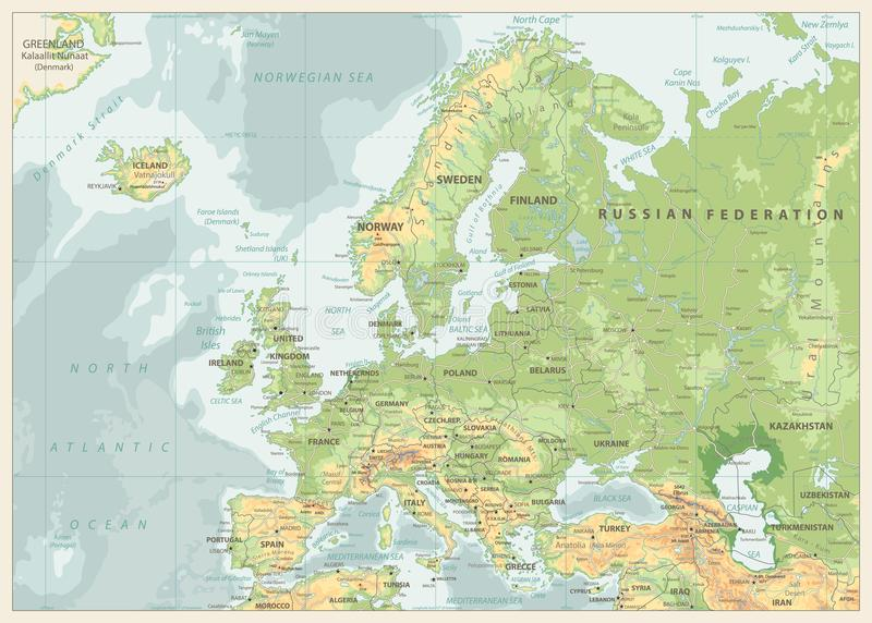 Europe Physical Map. Retro Colors vector illustration