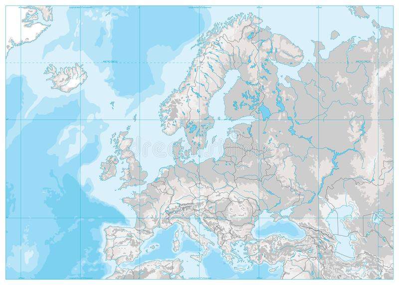 Europe Physical Map. White And Gray. No Text Stock Vector ...