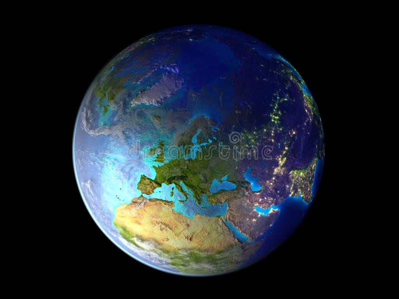 Europe on planet Earth from space illuminated by city lights. 3D illustration isolated on white background. Elements of this image royalty free illustration