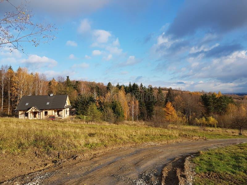 Europe. Poland. Podkarpackie. Rymanow Zdroj. Autumn 12 november 2017. Autumn`s view of edge.  stock image
