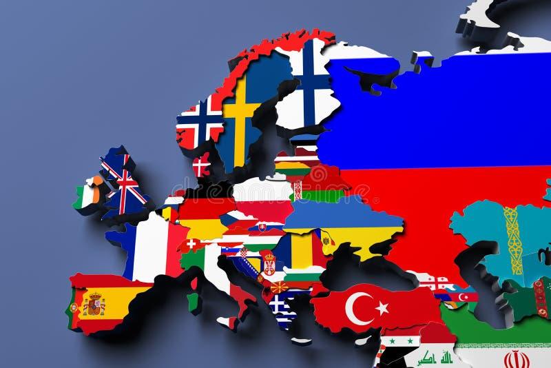 Europe political map 3d rendered image vector illustration
