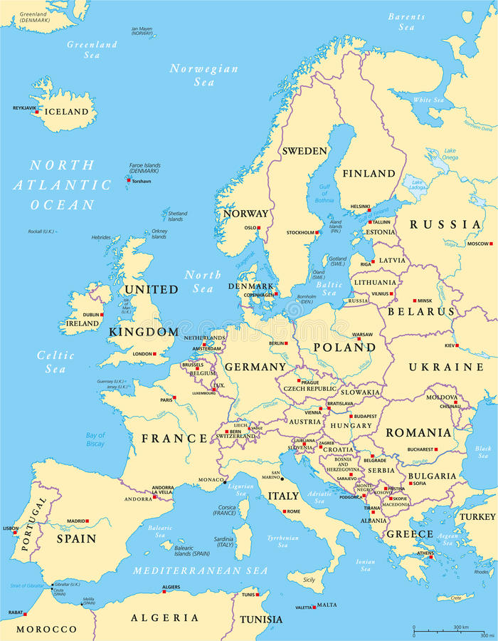 Europe Political Map Stock Vector Image Of Italy Europe - Political map of europe with capitals