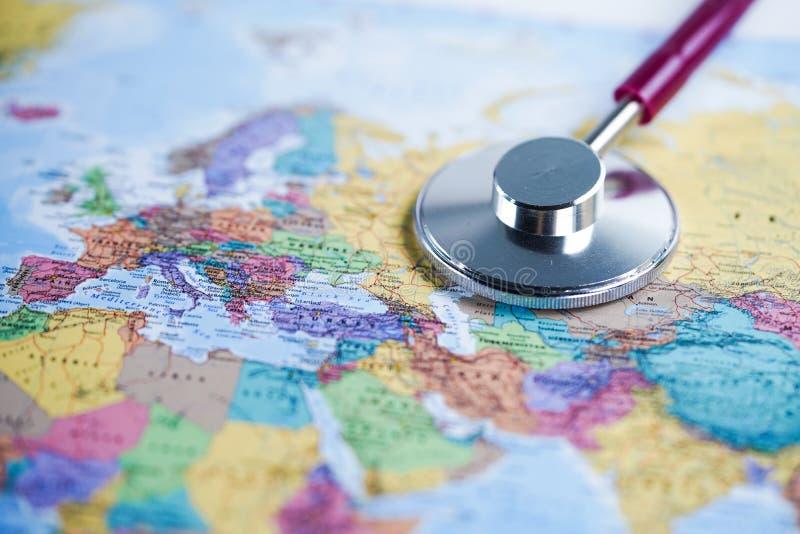 Europe : Stethoscope with globe world map. Europe : Red stethoscope with colorful globe world map stock photography