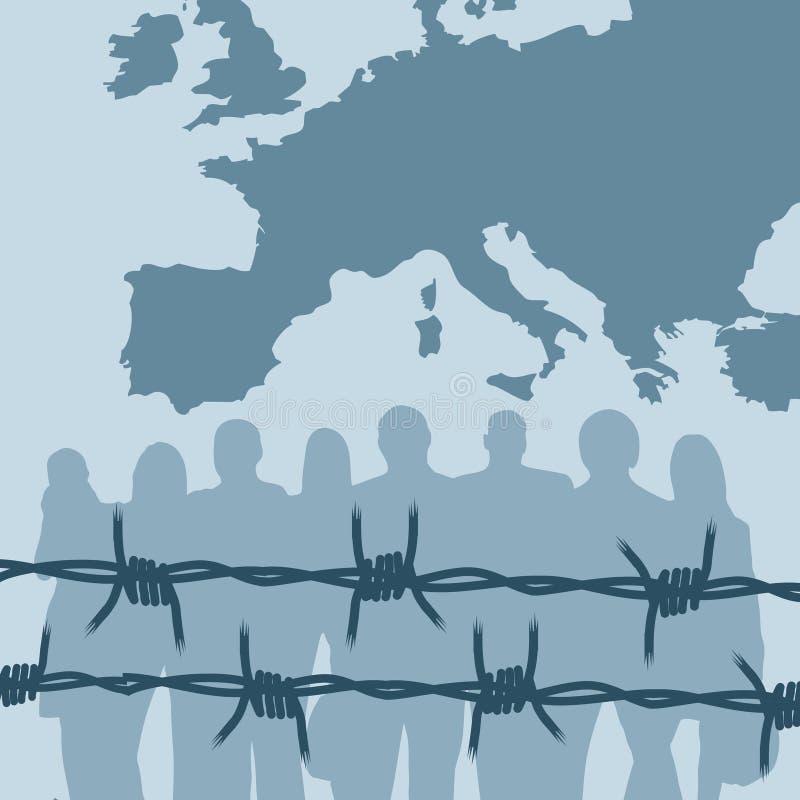 Europe refugees vector illustration