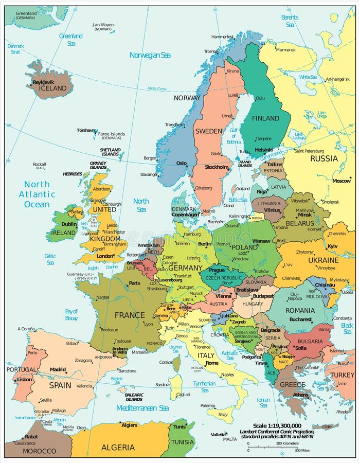 Europe Region Political Divisions Map Stock Illustration