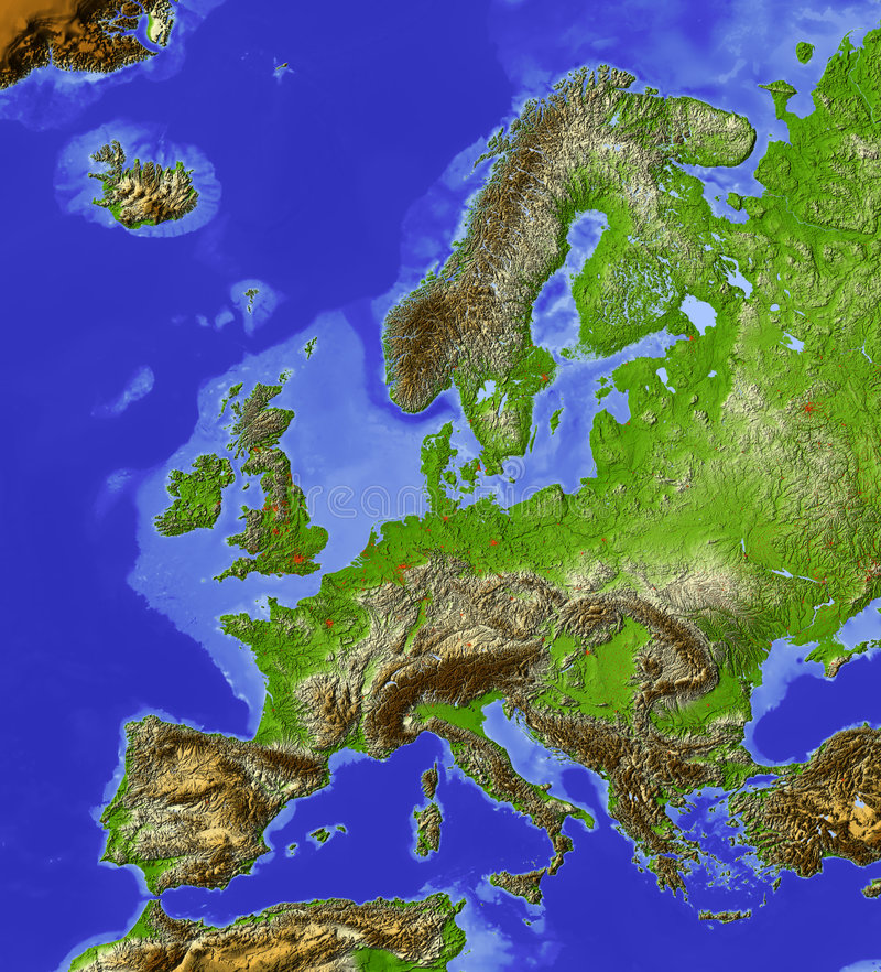 Download Europe, relief map stock illustration. Illustration of geography - 4468049