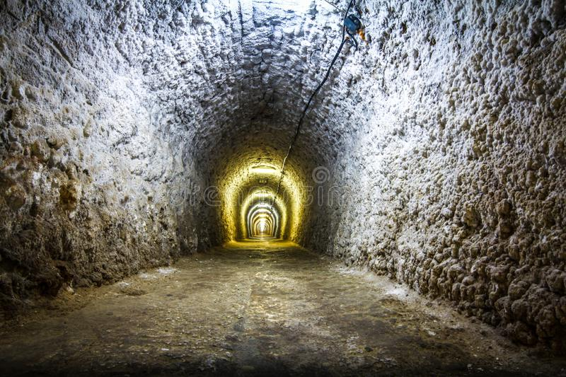 Lights in a mine salt tunnel royalty free stock images