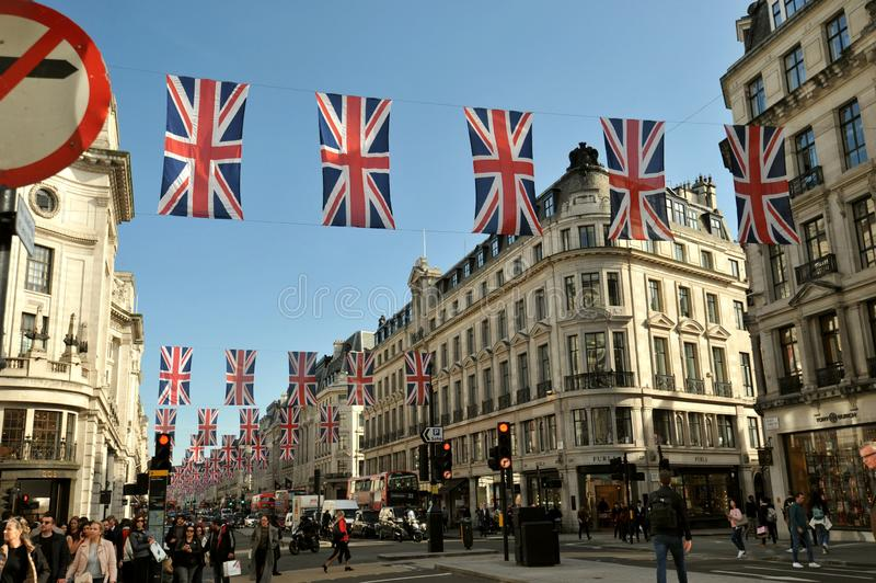 Oxford Street is a major road in the City of Westminster in the West End of London royalty free stock photo