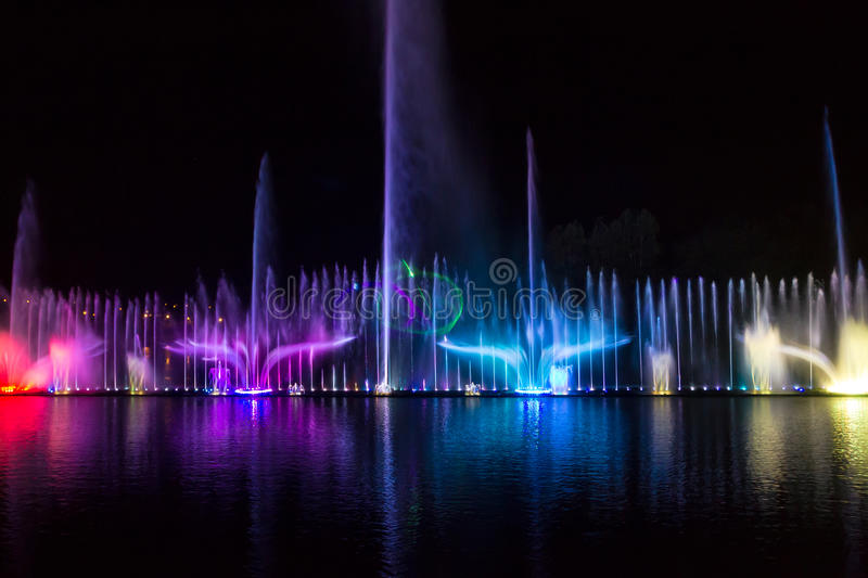 Europe's largest floating singing fountain, built on the Souther. N Bug River near the island Kemp, Vinnitsa, Ukraine royalty free stock photos