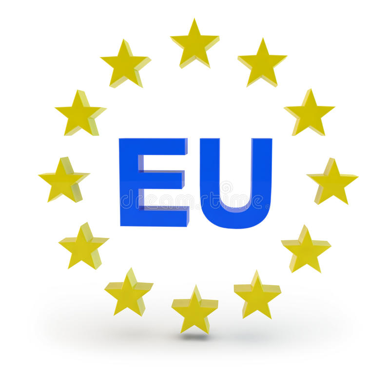 Europe. Sign star and EU background vector illustration