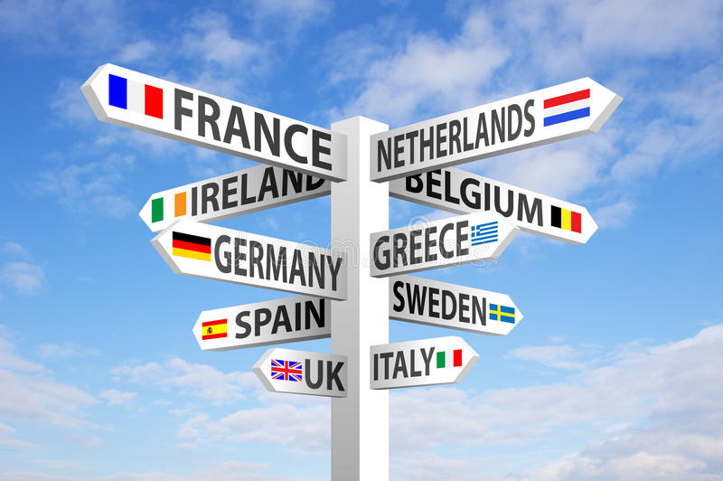 Europe Signpost. Europe destinations and flags signpost against blue sky