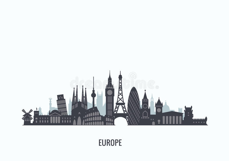 Europe skyline silhouette. stock photography