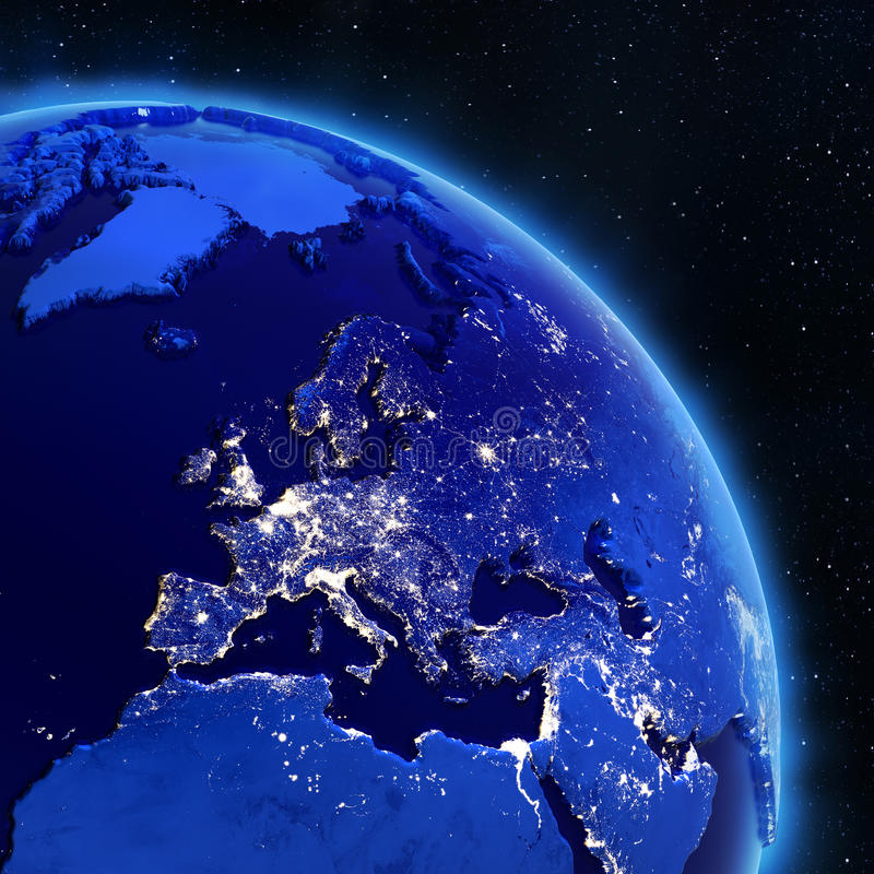 Europe from space stock illustration