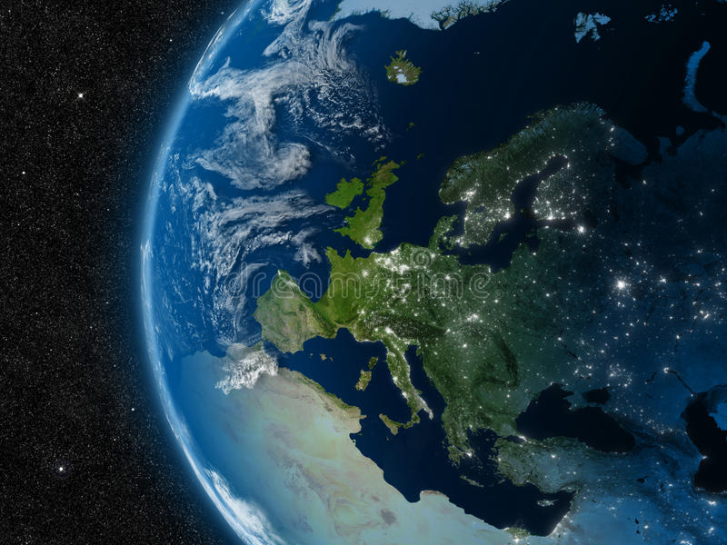Download Europe from space stock illustration. Image of earth - 37427249