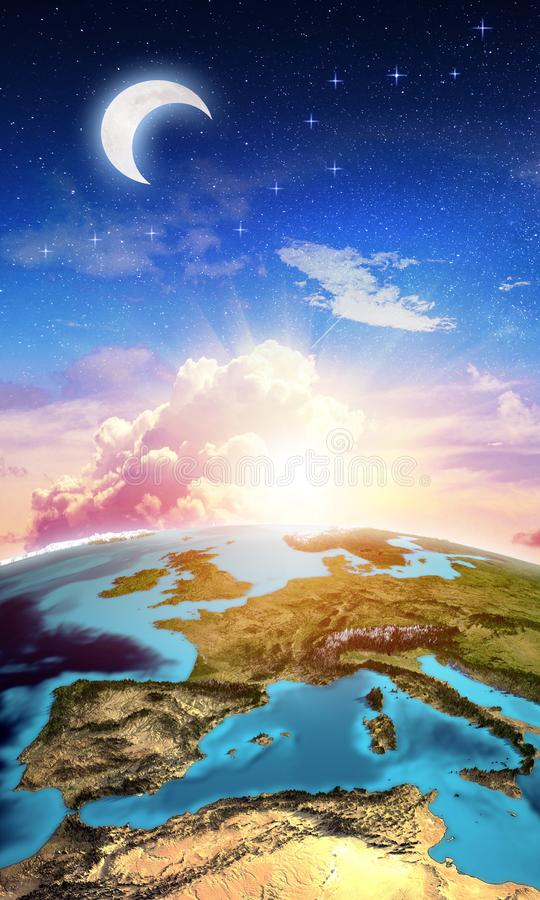 Europe from space map vertical background stock photos