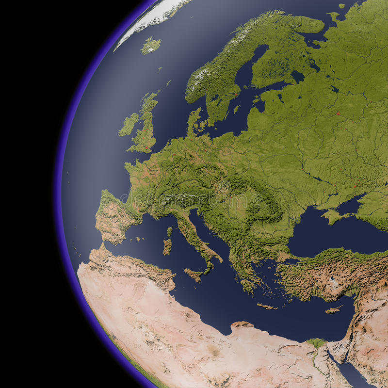 Europe from space, shaded relief map. stock illustration