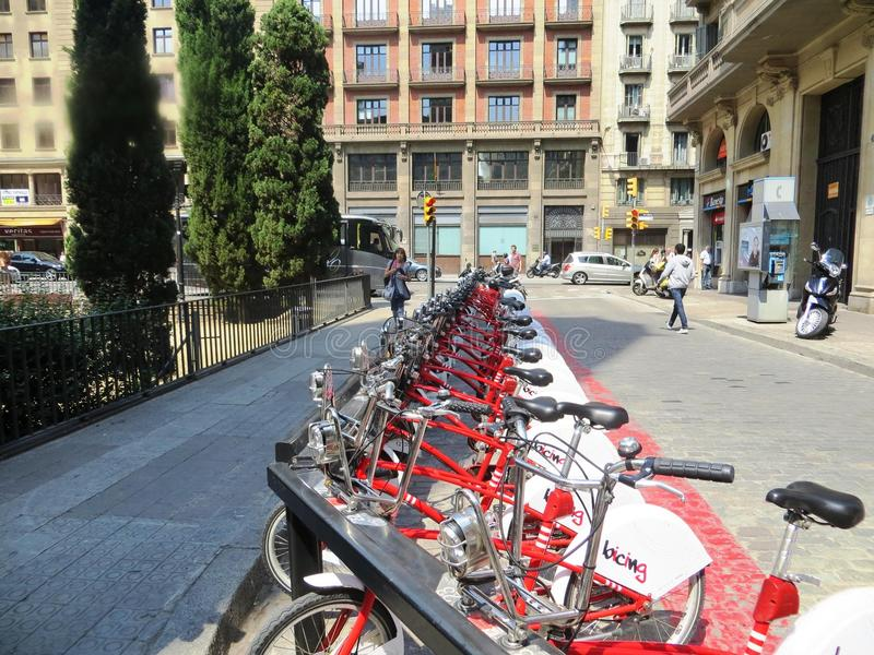 Europe street bike Parking sports architecture. Active lifestyle municipality health protection health protection purity stock photography