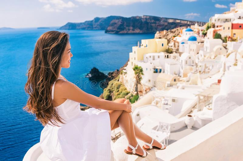 Europe summer travel destination Santorini woman royalty free stock images