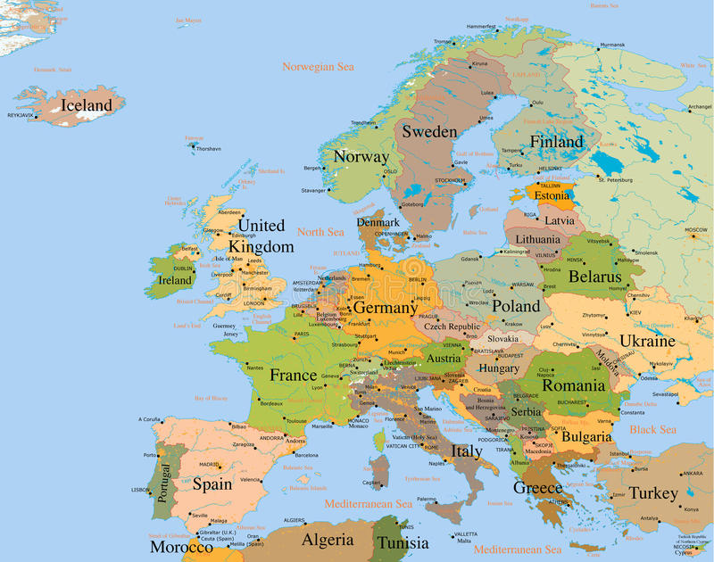 europe szczegółowa mapa ilustracja wektor