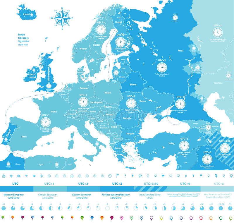 Europe Time Zones High Detailed Map With Location And Clock Icons ...