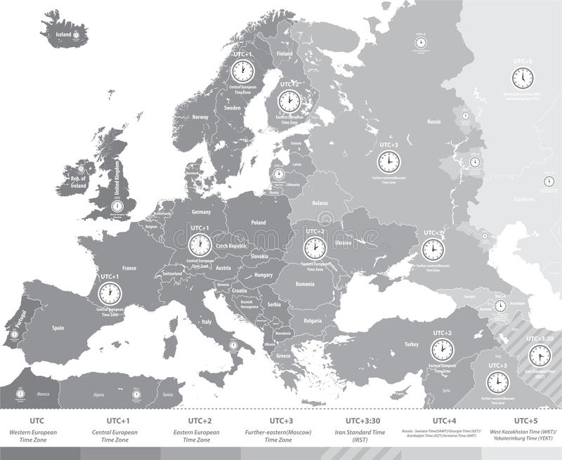 Europe Time Zones Map In Grey Scales With Location And Clock Icons ...