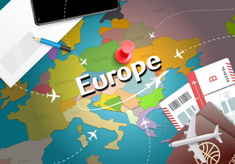 Europe travel concept map background with planes, tickets. Visit royalty free illustration