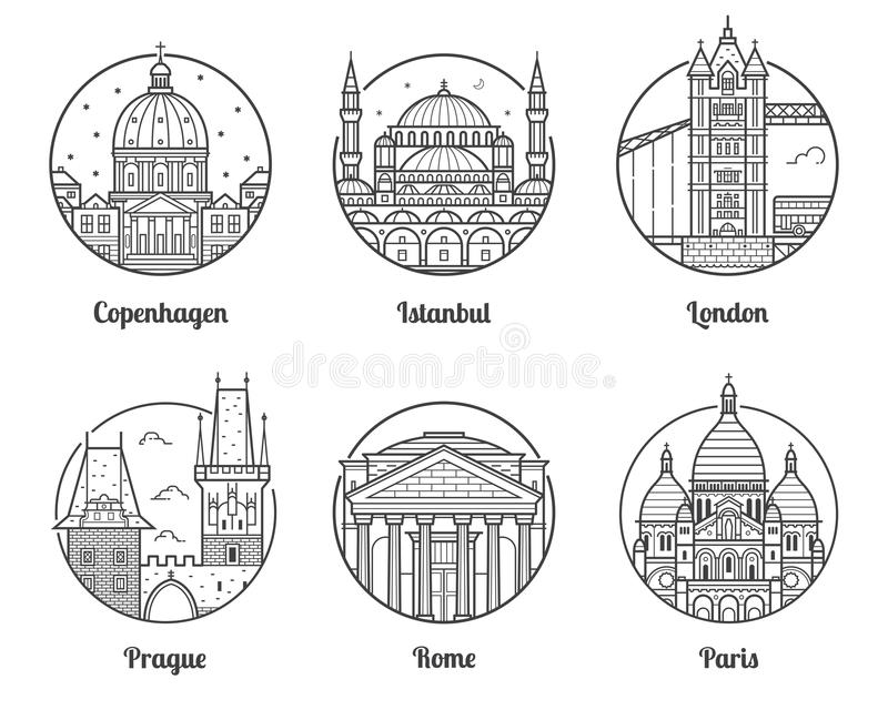 Europe Travel Destinations Icons. Main Europe cities icons including London, Rome, Prague, Istanbul, Copenhagen and Paris. Travel destinations icon set with vector illustration