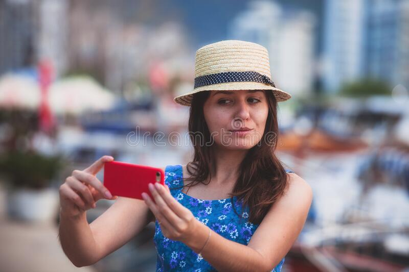 Woman Tourist Taking Selfie Pictures On Europe Travel ... |Europe Tourist Taking