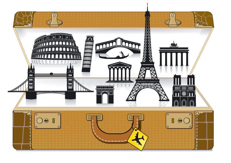 Europe Travel Suitcase Stock Images