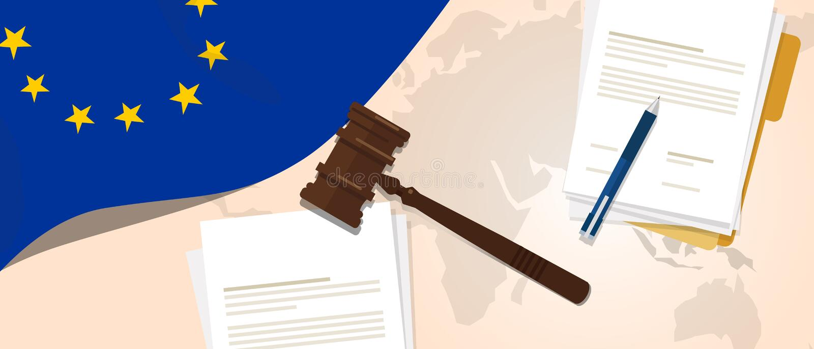 Europe Union EU law constitution legal judgment justice legislation trial concept using flag gavel paper and pen. Vector royalty free illustration