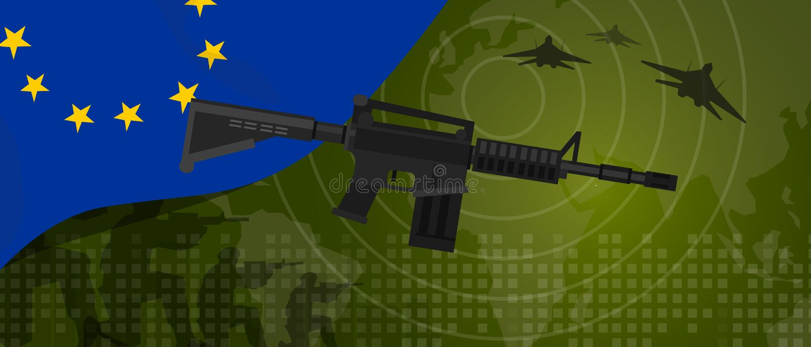 Europe Union EU military power army defense industry war and fight country national celebration with gun soldier jet. Fighter and radar vector stock illustration