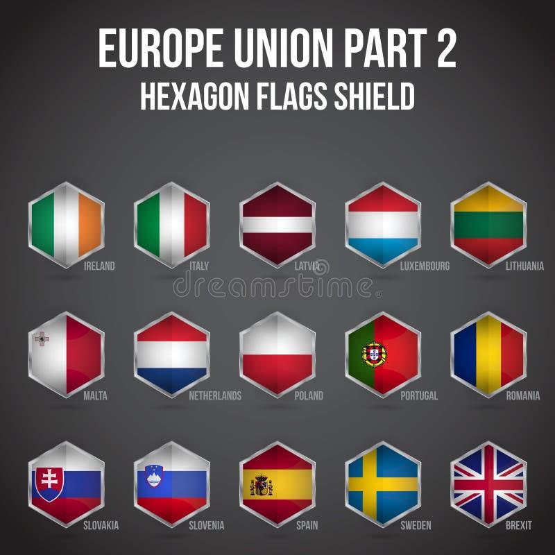 Europe Union Hexagon Flags Shield Part 2 vector illustration