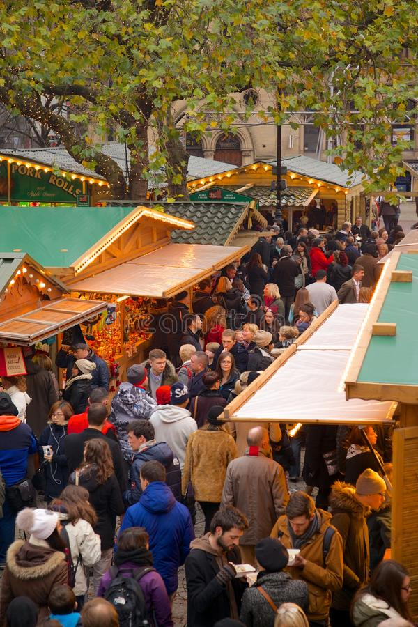 Europe, United Kingdom, England, Lancashire, Manchester, Albert Square, Christmas Market. View of Albert Square Christmas Market in Manchester, Europe, United royalty free stock photography