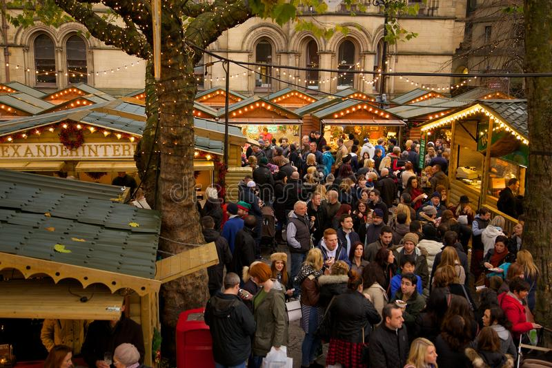 Europe, United Kingdom, England, Lancashire, Manchester, Albert Square, Christmas Market. View of Albert Square Christmas Market Manchester, Europe, United stock photo