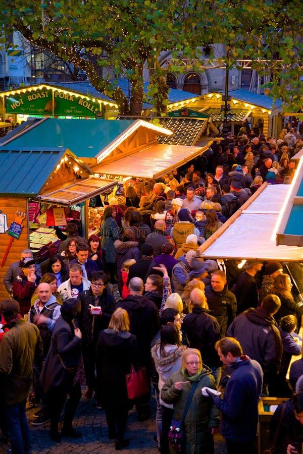 Europe, United Kingdom, England, Lancashire, Manchester, Albert Square, Christmas Market. View of Albert Square Christmas Market in Manchester, Europe, United stock images