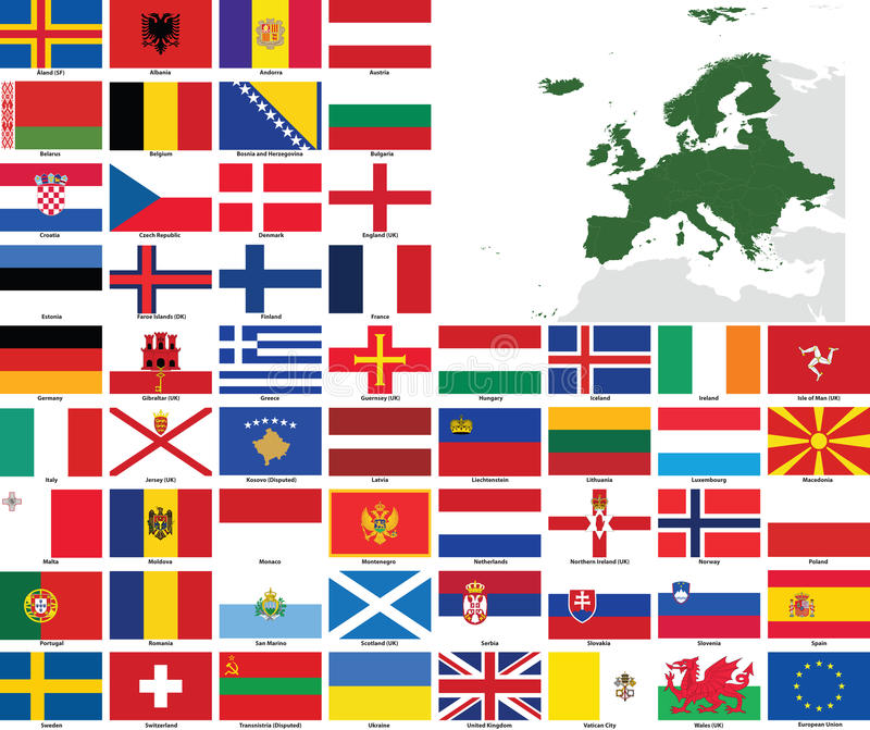 Europe Vector Flags and Maps royalty free illustration