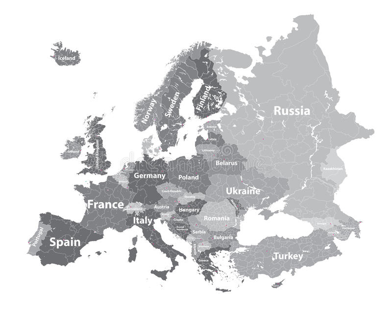 Europe vector high detailed political map with regions borders and countries names. All elements separated in detac. Europe vector high detailed political map in stock illustration