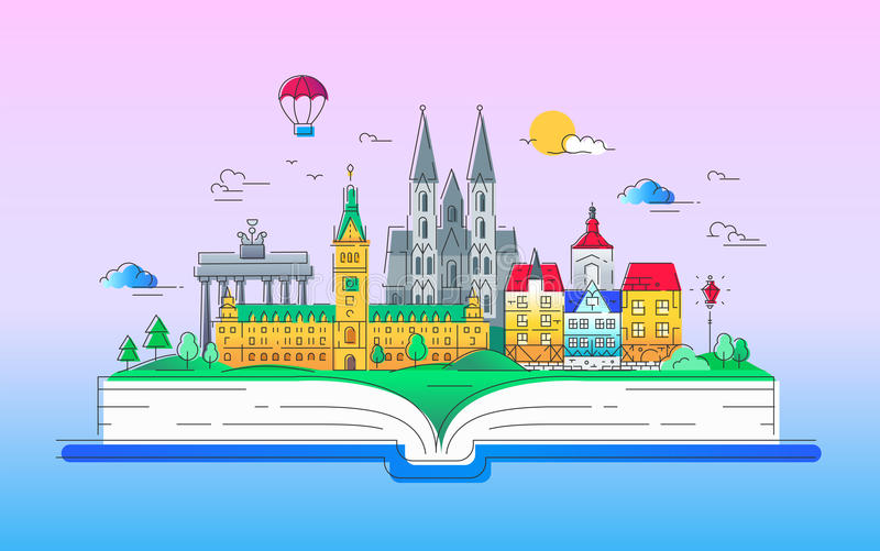 Europe - vector line travel illustration. Europe - modern vector line travel illustration. Discover Netherlands and Germany. Have a trip, enjoy your vacation. Be royalty free illustration