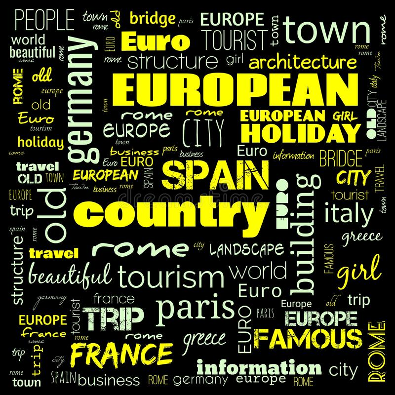 Europe word loud, text,word cloud use for banner, painting, motivation, web-page, website background, t-shirt & shirt printing, royalty free stock photography