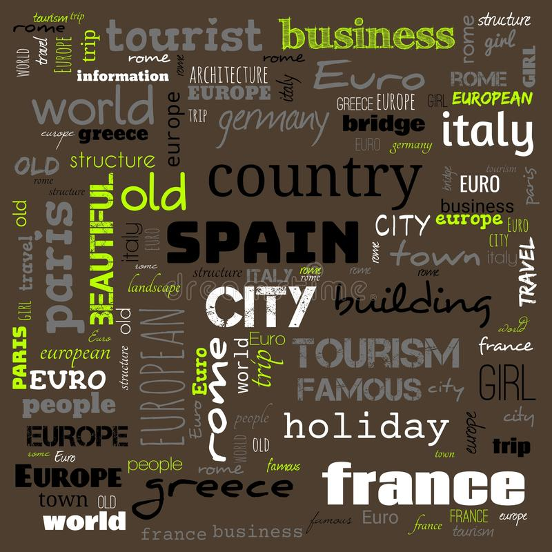 Europe word loud, text,word cloud use for banner, painting, motivation, web-page, website background, t-shirt & shirt printing,. Poster, gritting, wallpaper &# royalty free stock image
